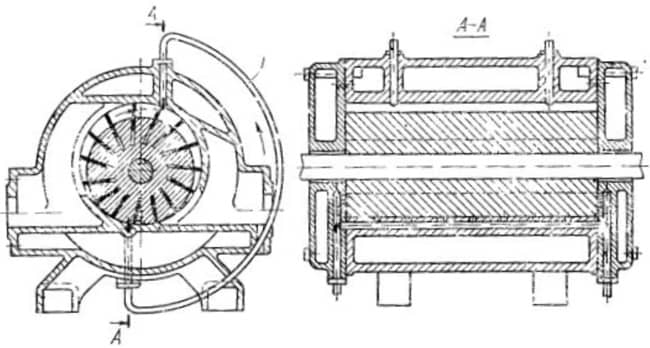 Схема пластинчатого вакуум-насоса